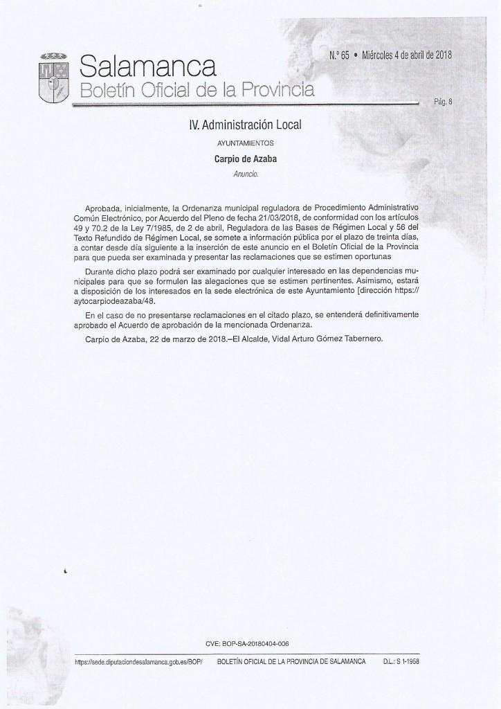 aprobacion inicial ordenanza municipal reguladora de procedimiento administrativo comun electronico